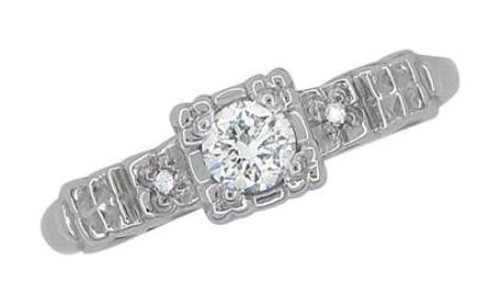 Art Deco 1/4 Carat Diamond Pansy Flowers Fishtail Engagement Ring in 14 Karat White Gold - Item: R386D - Image: 2