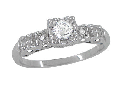 Art Deco 1/4 Carat Diamond Pansy Flowers Fishtail Engagement Ring in 14 Karat White Gold - Item: R386D - Image: 1