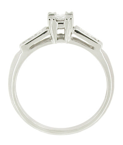 Mid Century 14 Karat White Gold Diamond Engagement Ring - Item: R387 - Image: 1