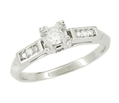 Mid Century 14 Karat White Gold Diamond Engagement Ring