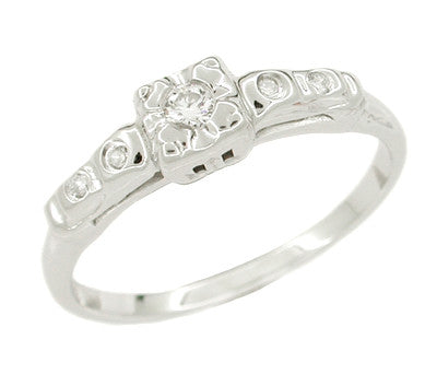 Mid Century Diamond Estate Engagement Ring in 14 Karat White Gold