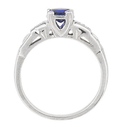 Mid Century Blue Sapphire and Diamond Antique Engagement Ring in Platinum - Item: R392P - Image: 2