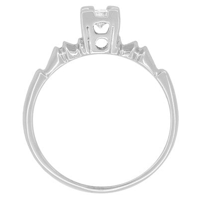 Art Deco Square Top Solitaire Vintage Diamond Engagement Ring in 14 Karat White Gold - Item: R395 - Image: 1