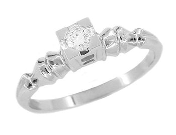 Art Deco Square Top Solitaire Vintage Diamond Engagement Ring in 14 Karat White Gold