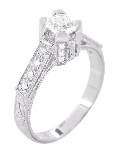 Art Deco 1/2 Carat Asscher Cut Diamond Engagement Ring in 18 Karat White Gold