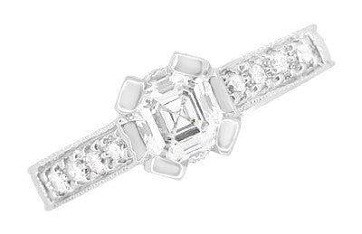 Art Deco 1/2 Carat Asscher Cut Diamond Engagement Ring in 18 Karat White Gold - Item: R396AS - Image: 3