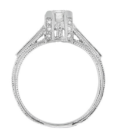 Art Deco 1/2 Carat Asscher Cut Diamond Engagement Ring in 18 Karat White Gold - Item: R396AS - Image: 4