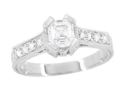 Art Deco 1/2 Carat Asscher Cut Diamond Engagement Ring in 18 Karat White Gold - Item: R396AS - Image: 2