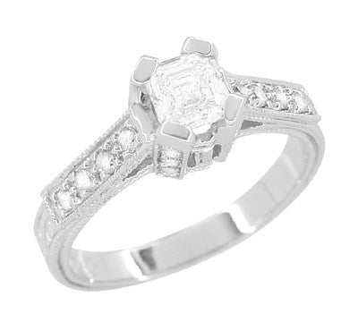 Art Deco 1/2 Carat Asscher Cut Diamond Engagement Ring in 18 Karat White Gold - Item: R396AS - Image: 1