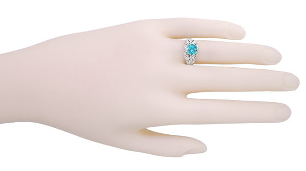 Edwardian Natural Blue Zircon Filigree Ring in 14 Karat White Gold - December Birthstone - Item: R397 - Image: 2