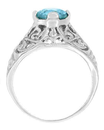 Edwardian Natural Blue Zircon Filigree Ring in 14 Karat White Gold - December Birthstone - Item: R397 - Image: 1