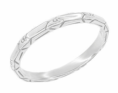 Art Deco Floral Geometric Wedding Band in 14 Karat White Gold