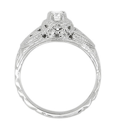 14 Karat White Gold Art Deco Diamond Filigree Engagement Ring - Item: R404 - Image: 2