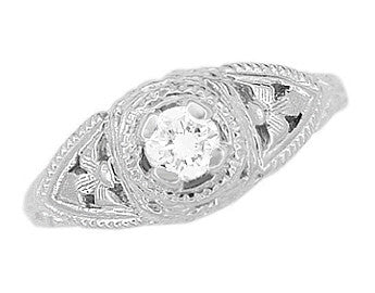 14 Karat White Gold Art Deco Diamond Filigree Engagement Ring - Item: R404 - Image: 3