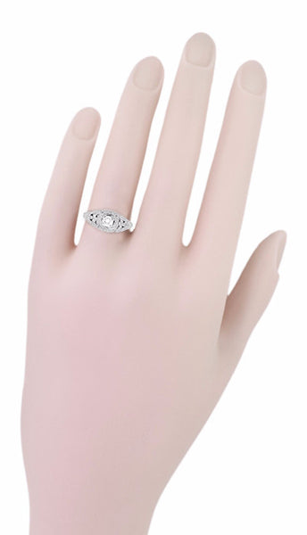 14 Karat White Gold Art Deco Diamond Filigree Engagement Ring - Item: R404 - Image: 4