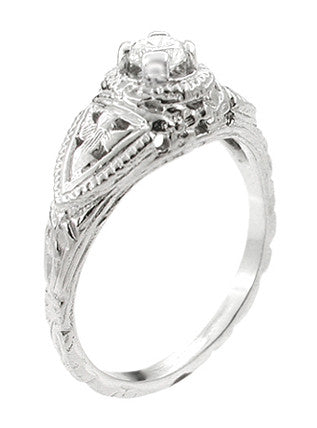 14 Karat White Gold Art Deco Diamond Filigree Engagement Ring - Item: R404 - Image: 1