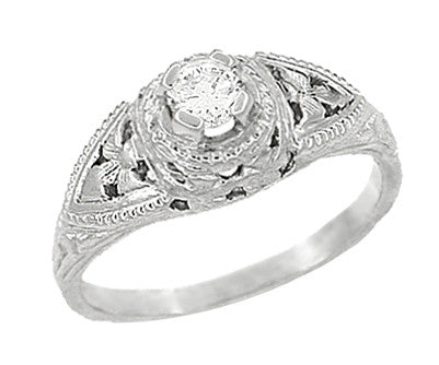 14 Karat White Gold Art Deco Diamond Filigree Engagement Ring