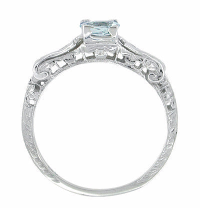 Art Deco Filigree Aquamarine and Diamond Ring in 14 Karat White Gold - Item: R405 - Image: 1