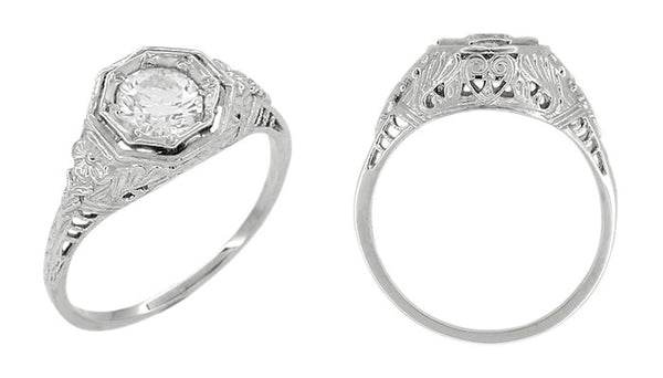 Art Deco Hearts and Flowers Diamond Filigree Platinum Engagement Ring - Item: R406P - Image: 1