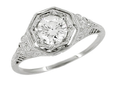 Art Deco Hearts and Flowers Diamond Filigree Platinum Engagement Ring