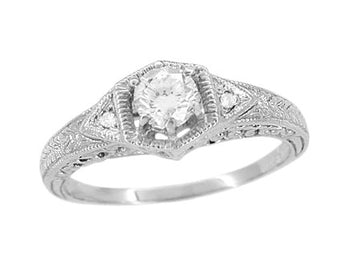 Art Deco Filigree Wheat and Scrolls Diamond Engraved Engagement Ring in 14 Karat White Gold