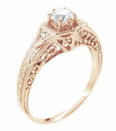 Art Deco 1/3 Carat Diamond Filigree Ring Setting in 14 Karat Rose ( Pink ) Gold - Item: R407NSR - Image: 1