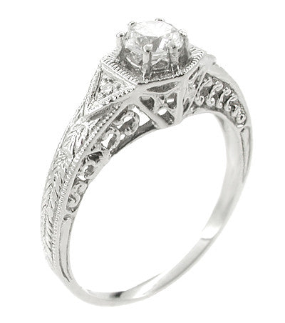 Art Deco Filigree Cubic Zirconia ( CZ ) Engagement Ring in Platinum - Item: R407PCZ - Image: 2