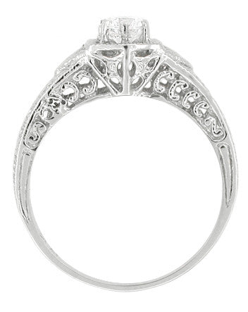 Art Deco Filigree Cubic Zirconia ( CZ ) Engagement Ring in Platinum - Item: R407PCZ - Image: 1