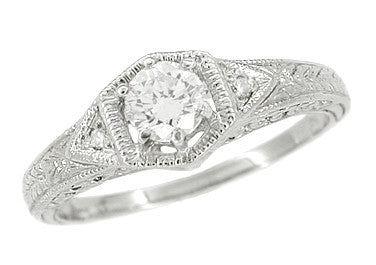Art Deco Filigree Cubic Zirconia ( CZ ) Engagement Ring in Platinum