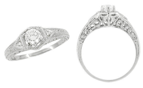 Art Deco Filigree Antique Platinum Engagement Semimount Ring Design for a 1/3 Carat Diamond - Item: R407PNS - Image: 1