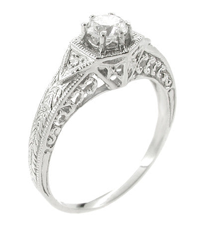 Art Deco Filigree Antique Platinum Engagement Semimount Ring Design for a 1/3 Carat Diamond
