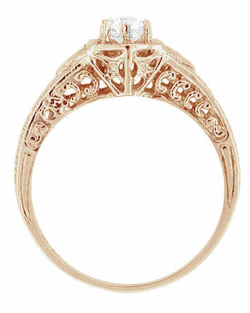 Art Deco 1/3 Carat Diamond 14 Karat Rose ( Pink ) Gold Filigree Engraved Engagement Ring - Item: R407R - Image: 2