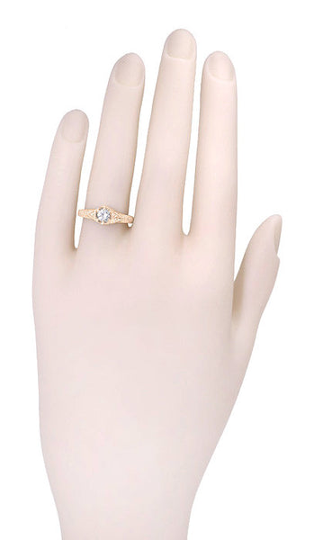 Art Deco 1/3 Carat Diamond 14 Karat Rose ( Pink ) Gold Filigree Engraved Engagement Ring - Item: R407R - Image: 3