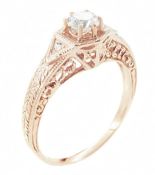 Art Deco 1/3 Carat Diamond 14 Karat Rose ( Pink ) Gold Filigree Engraved Engagement Ring