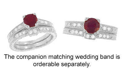 Art Deco Ruby and Diamonds Engraved Engagement Ring in Platinum - Item: R408 - Image: 3