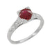 Art Deco Ruby and Diamonds Engraved Engagement Ring in Platinum