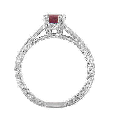 Art Deco Ruby and Diamonds Engraved Engagement Ring in 18 Karat White Gold - Item: R408W - Image: 2