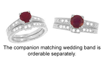 Art Deco Ruby and Diamonds Engraved Engagement Ring in 18 Karat White Gold - Item: R408W - Image: 3