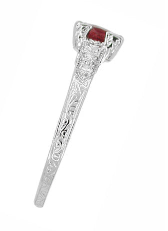 Art Deco Ruby and Diamonds Engraved Engagement Ring in 18 Karat White Gold - Item: R408W - Image: 1