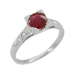 Art Deco Ruby and Diamonds Engraved Engagement Ring in 18 Karat White Gold