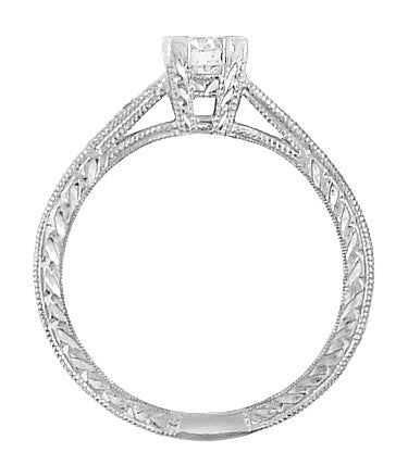 Vintage Engraved Art Deco Diamond Engagement Ring in 18 Karat White Gold - Item: R408WD - Image: 2