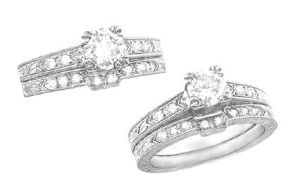 Vintage Engraved Art Deco Diamond Engagement Ring in 18 Karat White Gold - Item: R408WD - Image: 3