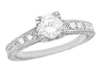 Vintage Engraved Art Deco Diamond Engagement Ring in 18 Karat White Gold