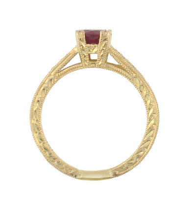 Art Deco Ruby and Diamonds Engraved Engagement Ring in 18 Karat Yellow Gold - Item: R408Y - Image: 2