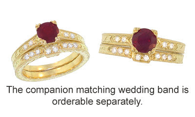 Art Deco Ruby and Diamonds Engraved Engagement Ring in 18 Karat Yellow Gold - Item: R408Y - Image: 3