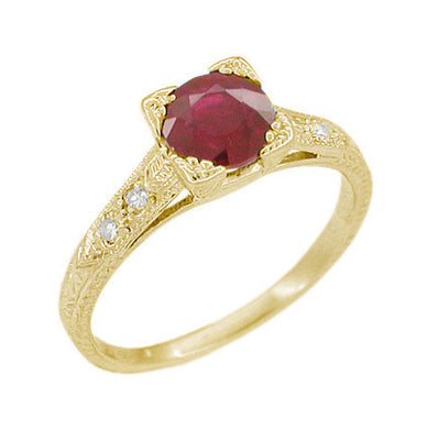Art Deco Ruby and Diamonds Engraved Engagement Ring in 18 Karat Yellow Gold