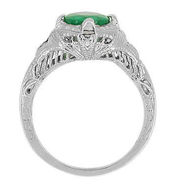 Art Deco Emerald Engraved Filigree Ring in Platinum - Item: R410 - Image: 2