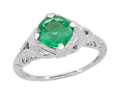 Art Deco Emerald Engraved Filigree Ring in Platinum - Item: R410 - Image: 1