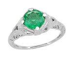 Art Deco Engraved Filigree Emerald Engagement Ring in 14 Karat White Gold