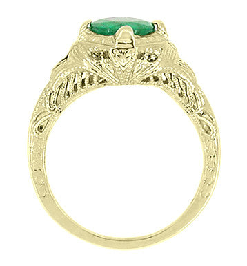 Art Deco Emerald Engraved Filigree Engagement  Ring in 14 Karat Yellow Gold - Item: R410Y - Image: 2